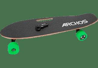 ARCHOS SK8 - Elektro-Skateboard & Longboard, 15 km/h, 2.75 Zoll (70 mm), PU massiv, 10 km, Ahornholz mit Anti-Rutsch Cover (schwarz), grüne Rollen